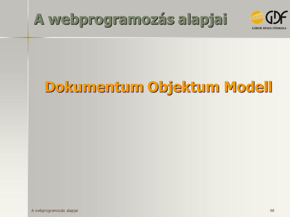 A webprogramozás alapjai 98 Dokumentum Objektum Modell A webprogramozás alapjai