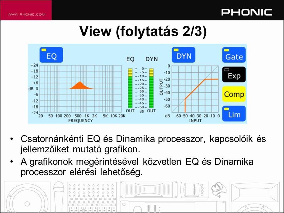 •Csatornánkénti EQ és Dinamika processzor, kapcsolóik és jellemzőiket mutató grafikon.