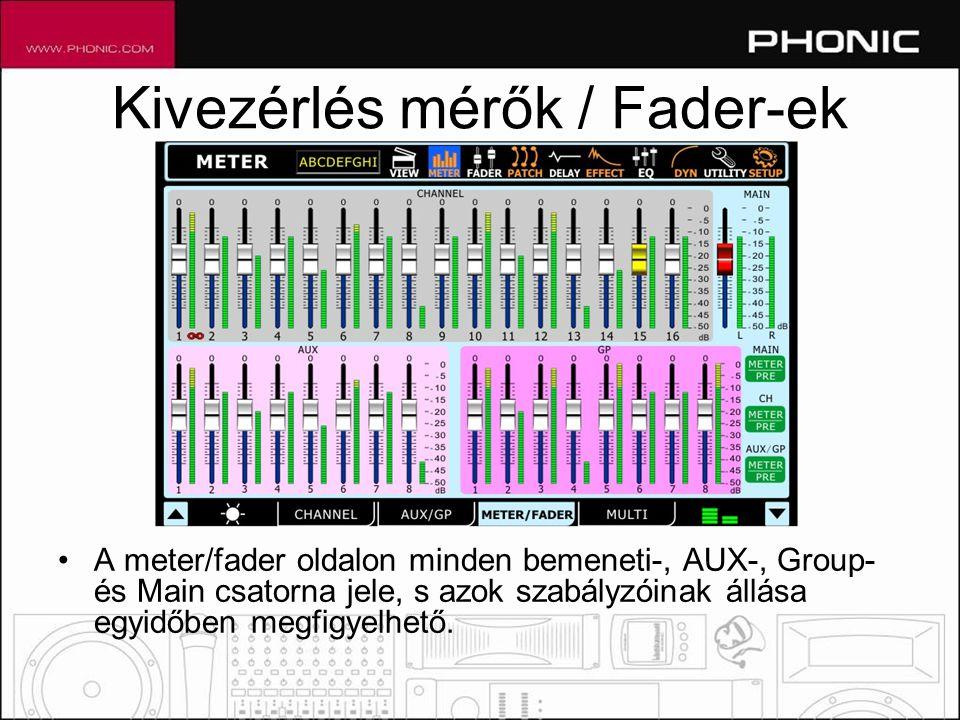 Kivezérlés mérők / Fader-ek •A meter/fader oldalon minden bemeneti-, AUX-, Group- és Main csatorna jele, s azok szabályzóinak állása egyidőben megfigyelhető.