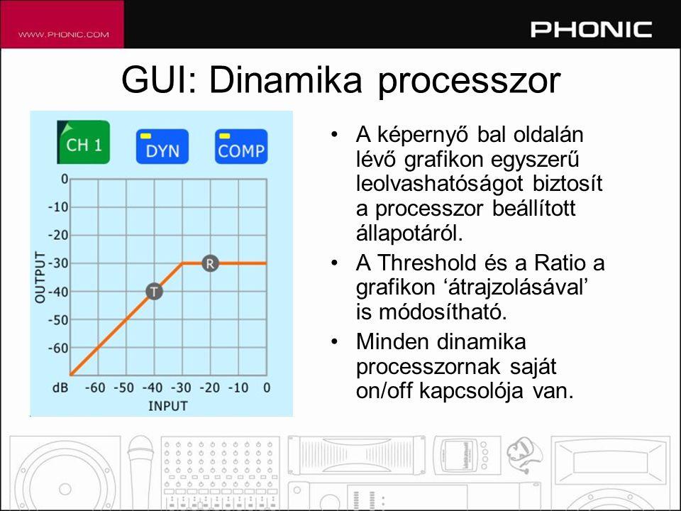GUI: Dinamika processzor •A képernyő bal oldalán lévő grafikon egyszerű leolvashatóságot biztosít a processzor beállított állapotáról.