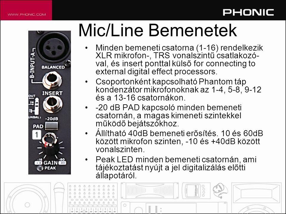 Mic/Line Bemenetek •Minden bemeneti csatorna (1-16) rendelkezik XLR mikrofon-, TRS vonalszintű csatlakozó- val, és insert ponttal külső for connecting to external digital effect processors.