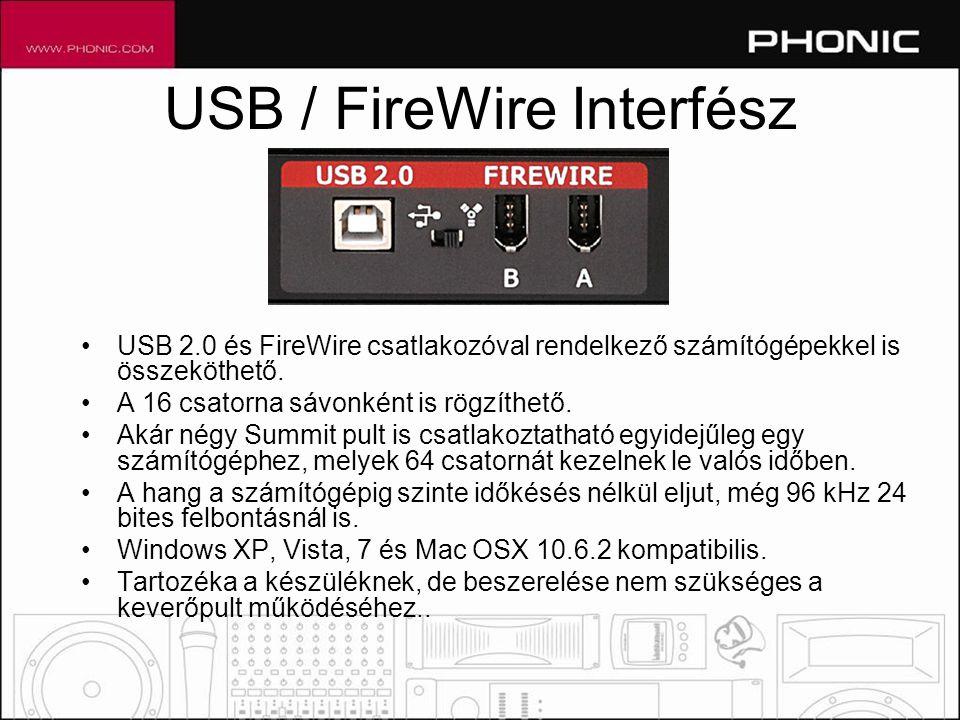 USB / FireWire Interfész •USB 2.0 és FireWire csatlakozóval rendelkező számítógépekkel is összeköthető.