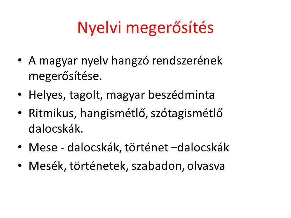 Nyelvi megerősítés • A magyar nyelv hangzó rendszerének megerősítése. • Helyes, tagolt, magyar beszédminta • Ritmikus, hangismétlő, szótagismétlő dalo