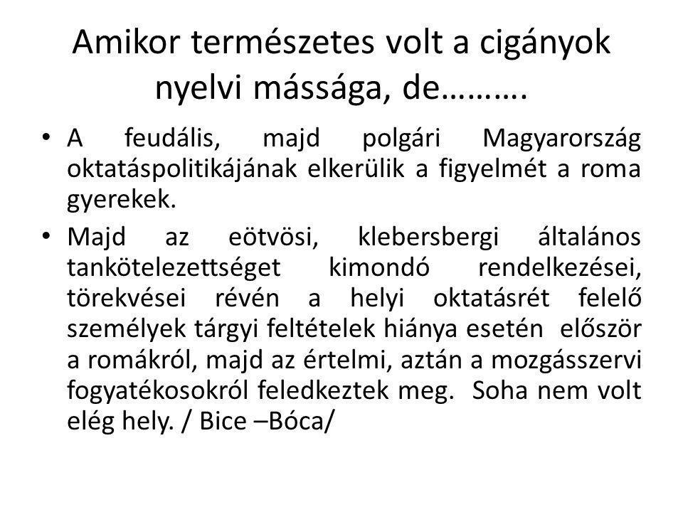 Amikor természetes volt a cigányok nyelvi mássága, de………. • A feudális, majd polgári Magyarország oktatáspolitikájának elkerülik a figyelmét a roma gy