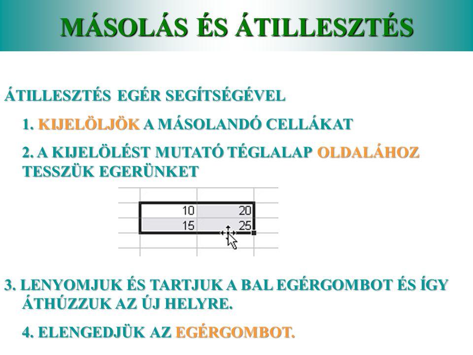 MÁSOLÁS ÉS ÁTILLESZTÉS MÁSOLÁS EGÉR SEGÍTSÉGÉVEL 1.