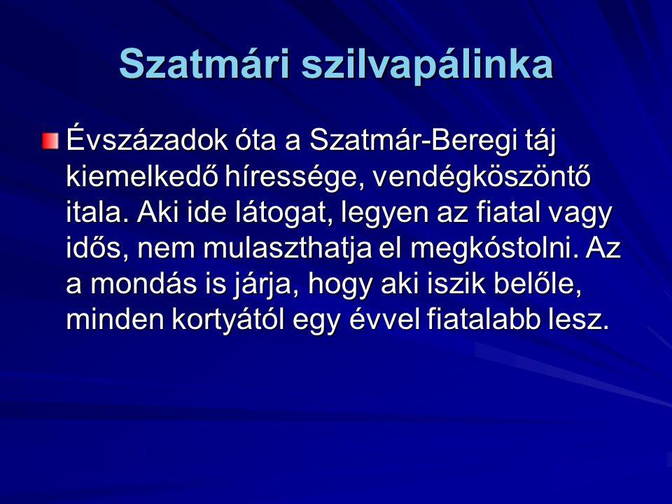 Szatmári szilvapálinka Évszázadok óta a Szatmár-Beregi táj kiemelkedő híressége, vendégköszöntő itala. Aki ide látogat, legyen az fiatal vagy idős, ne