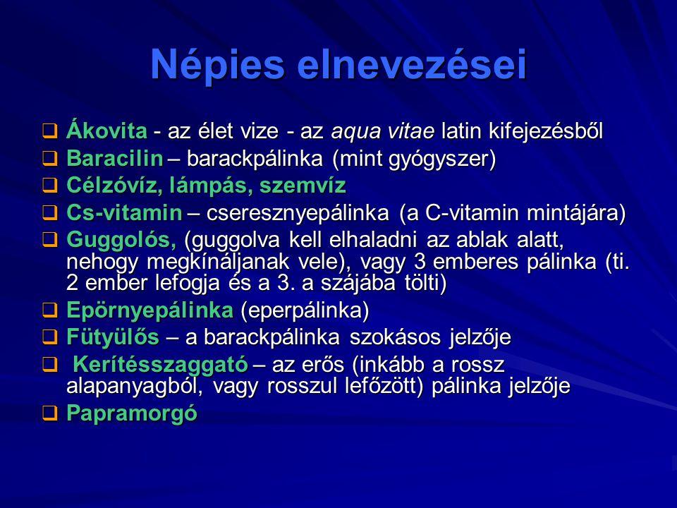 Népies elnevezései  Ákovita - az élet vize - az aqua vitae latin kifejezésből  Baracilin – barackpálinka (mint gyógyszer)  Célzóvíz, lámpás, szemví