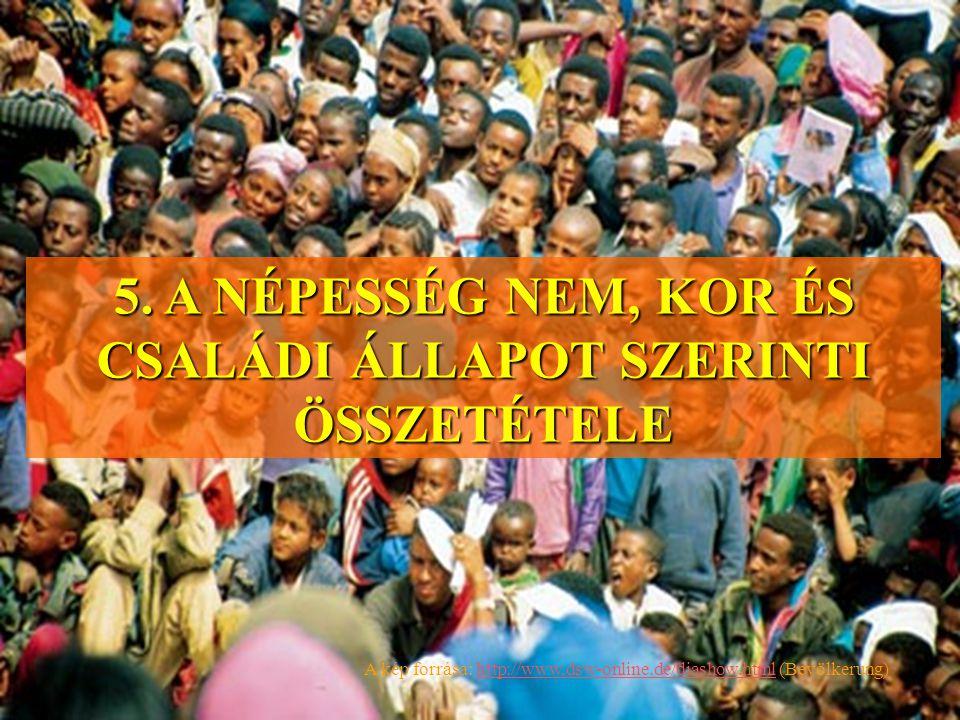 5. A NÉPESSÉG NEM, KOR ÉS CSALÁDI ÁLLAPOT SZERINTI ÖSSZETÉTELE A kép forrása: http://www,dsw-online.de/diashow.html (Bevölkerung)http://www,dsw-online
