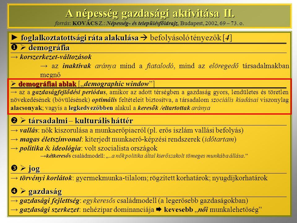 A népesség gazdasági aktivitása II. A népesség gazdasági aktivitása II. forrás: KOVÁCS Z.: Népesség- és településföldrajz, Budapest, 2002, 69 – 73. o.