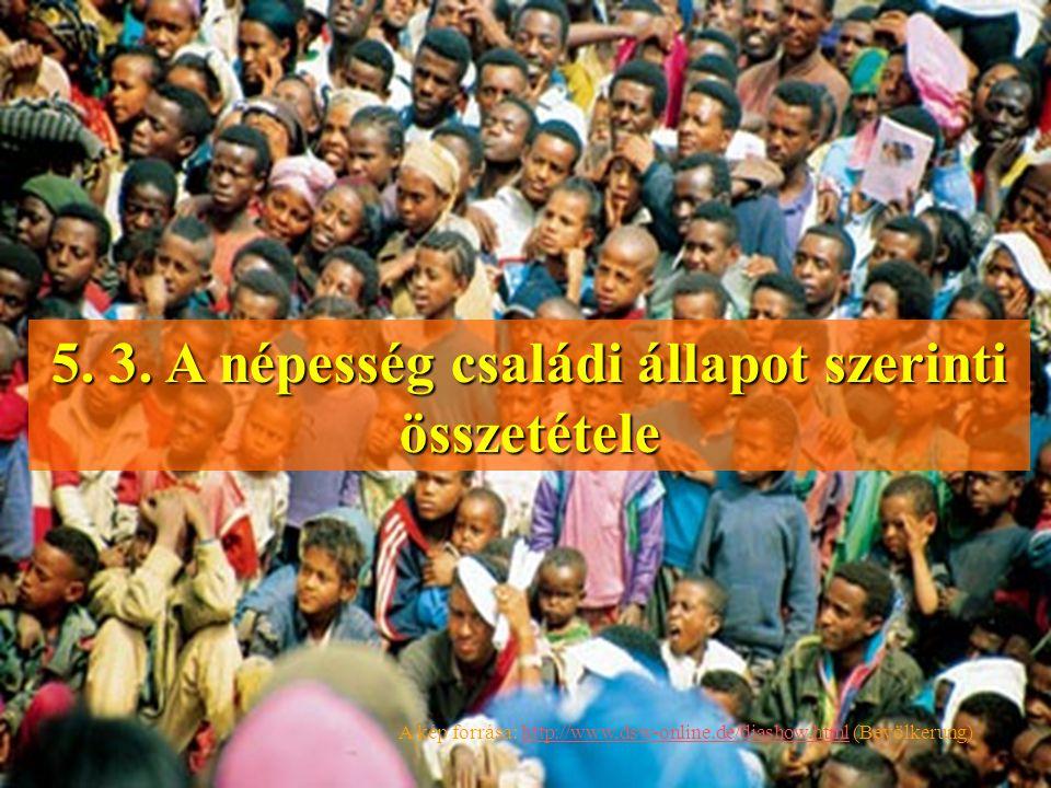 5. 3. A népesség családi állapot szerinti összetétele A kép forrása: http://www,dsw-online.de/diashow.html (Bevölkerung)http://www,dsw-online.de/diash