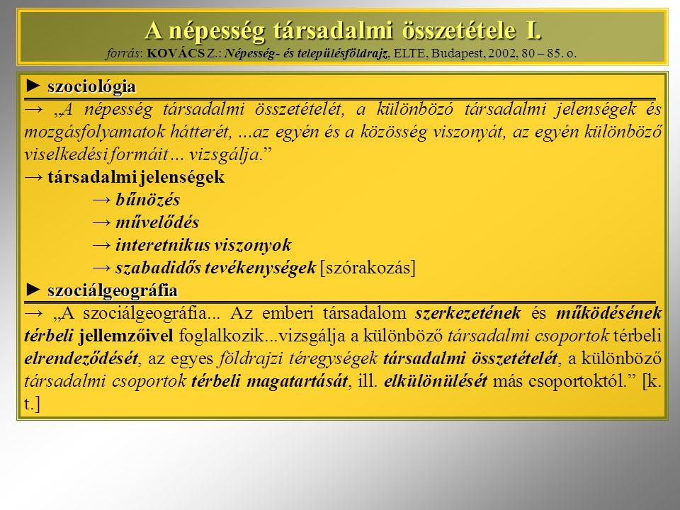 A népesség társadalmi összetétele I. A népesség társadalmi összetétele I. forrás: KOVÁCS Z.: Népesség- és településföldrajz, ELTE, Budapest, 2002, 80