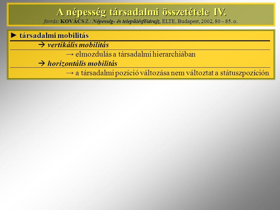 A népesség társadalmi összetétele IV. A népesség társadalmi összetétele IV. forrás: KOVÁCS Z.: Népesség- és településföldrajz, ELTE, Budapest, 2002, 8
