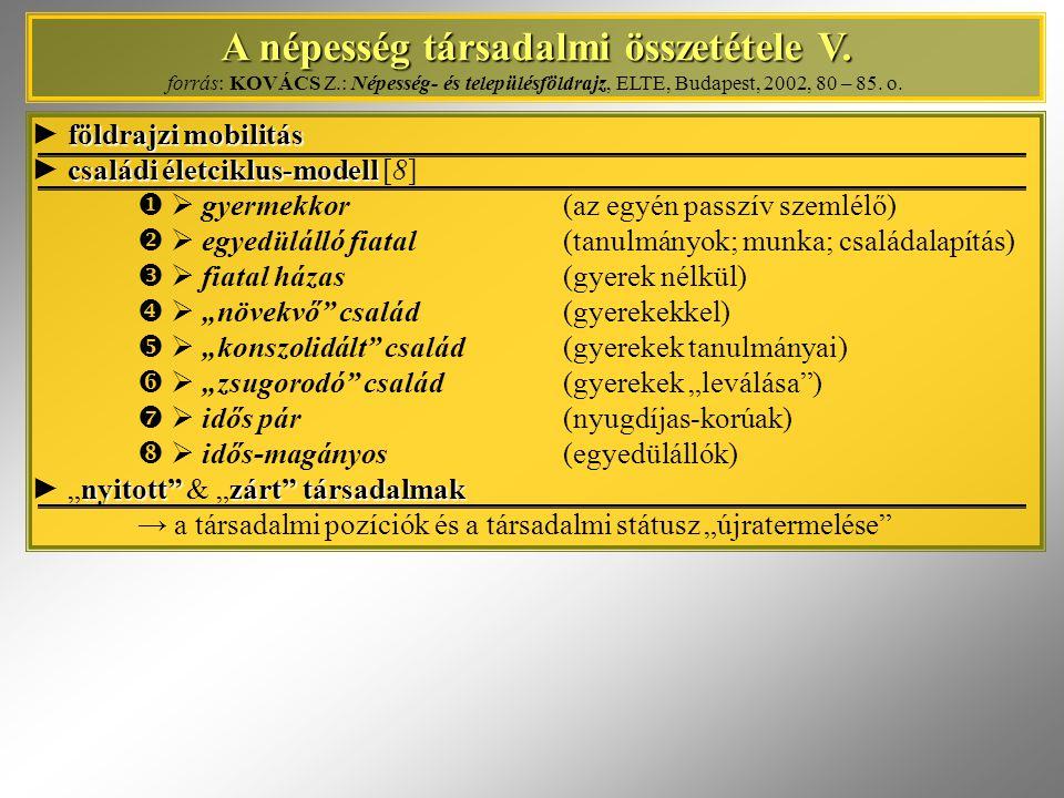 A népesség társadalmi összetétele V. A népesség társadalmi összetétele V. forrás: KOVÁCS Z.: Népesség- és településföldrajz, ELTE, Budapest, 2002, 80