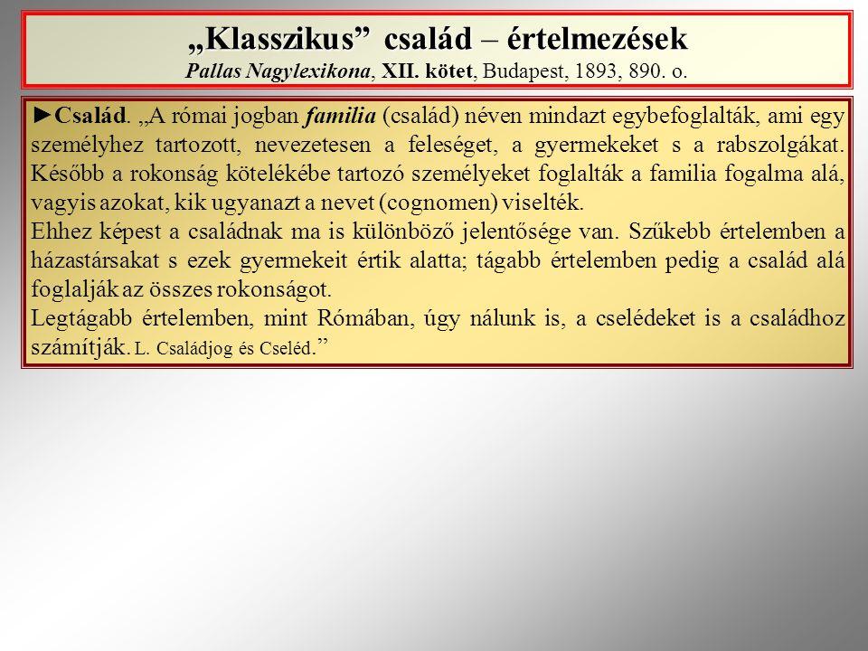 """""""Klasszikus"""" család értelmezések """"Klasszikus"""" család – értelmezések Pallas Nagylexikona, XII. kötet, Budapest, 1893, 890. o. ►Család. """"A római jogban"""
