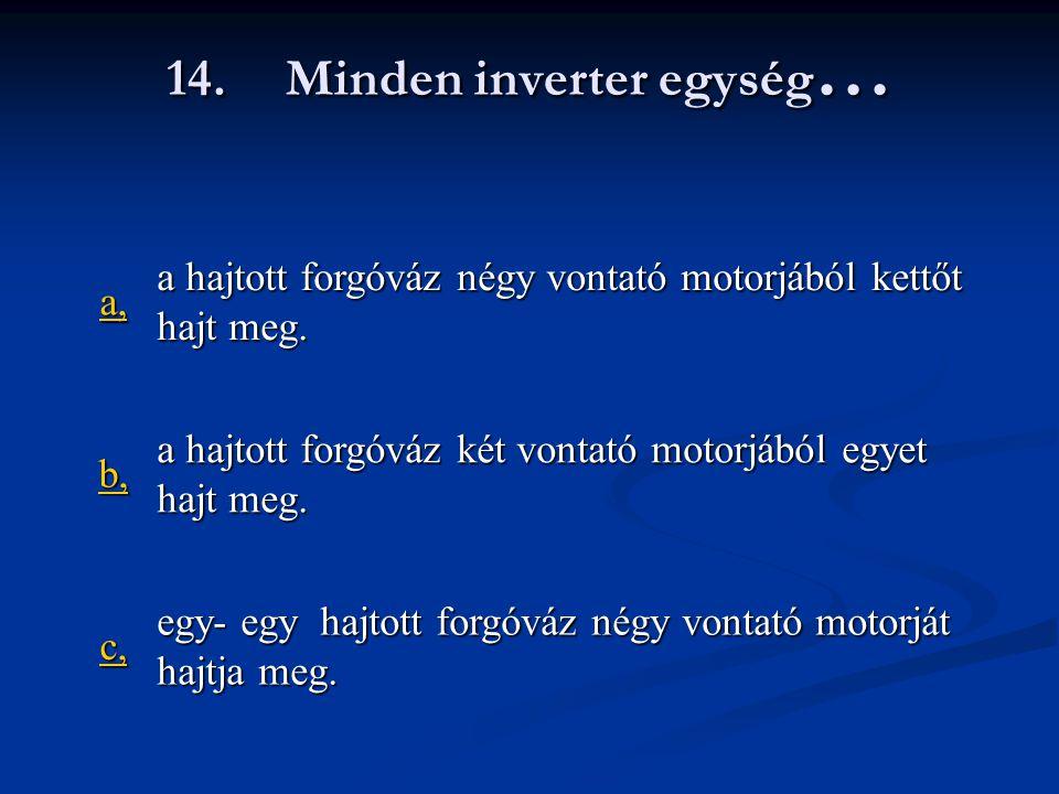 14.Minden inverter egység … a, a hajtott forgóváz négy vontató motorjából kettőt hajt meg.