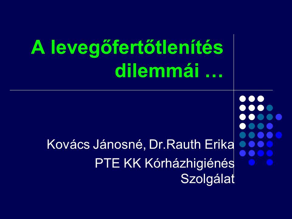 A levegőfertőtlenítés dilemmái … Kovács Jánosné, Dr.Rauth Erika PTE KK Kórházhigiénés Szolgálat