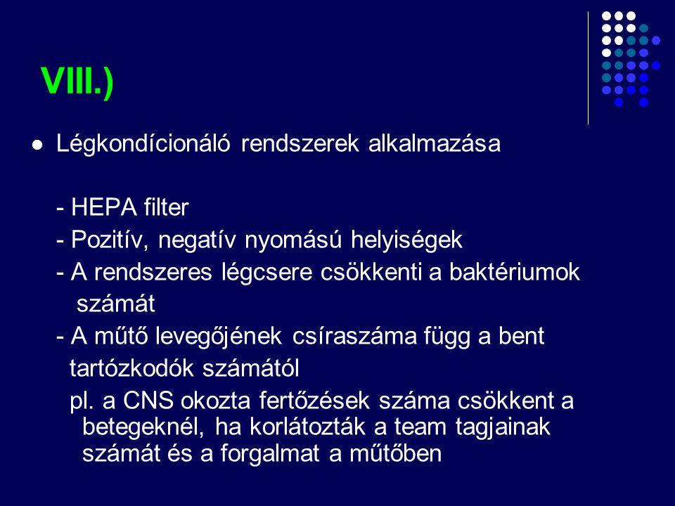 VIII.)  Légkondícionáló rendszerek alkalmazása - HEPA filter - Pozitív, negatív nyomású helyiségek - A rendszeres légcsere csökkenti a baktériumok sz