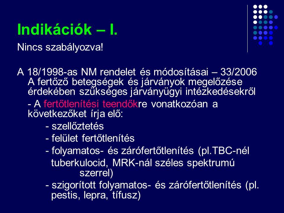 Indikációk – I. Nincs szabályozva! A 18/1998-as NM rendelet és módosításai – 33/2006 A fertőző betegségek és járványok megelőzése érdekében szükséges