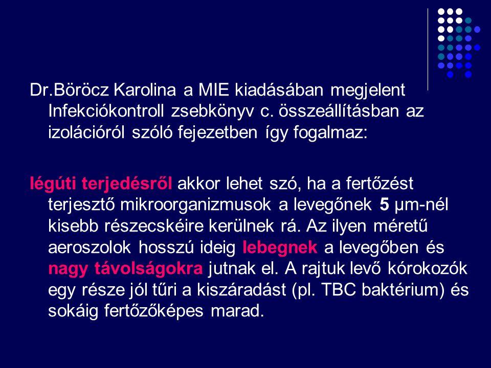 Dr.Böröcz Karolina a MIE kiadásában megjelent Infekciókontroll zsebkönyv c. összeállításban az izolációról szóló fejezetben így fogalmaz: légúti terje