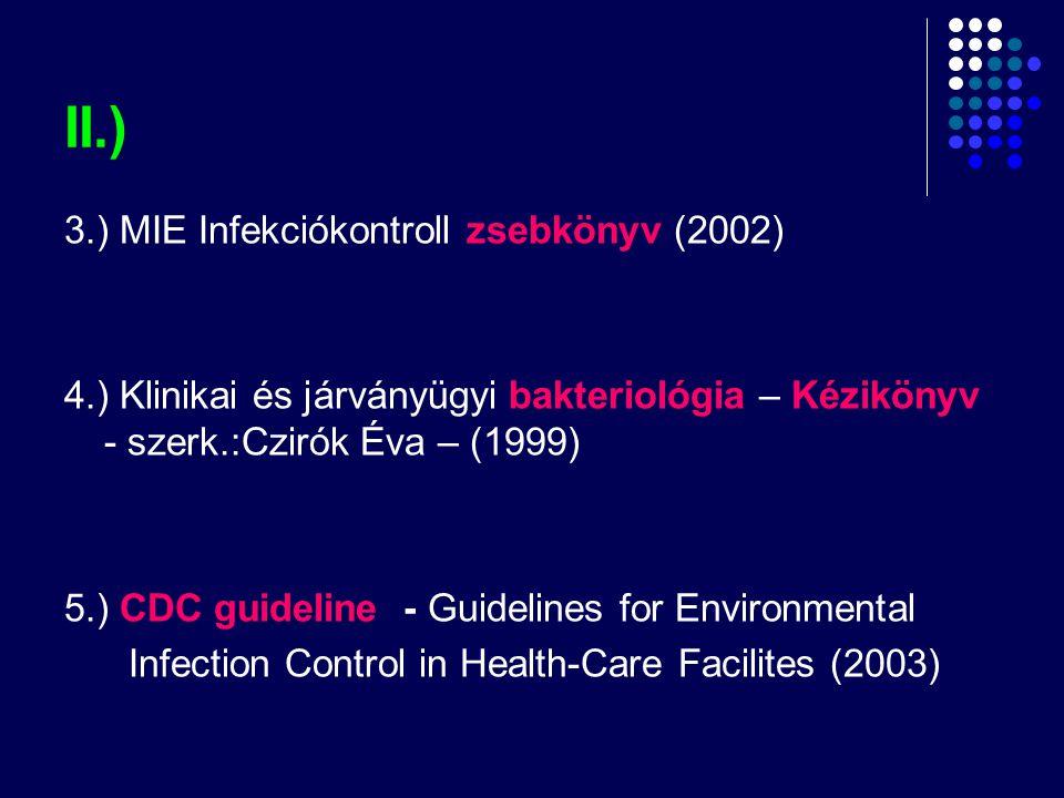 II.) 3.) MIE Infekciókontroll zsebkönyv (2002) 4.) Klinikai és járványügyi bakteriológia – Kézikönyv - szerk.:Czirók Éva – (1999) 5.) CDC guideline -