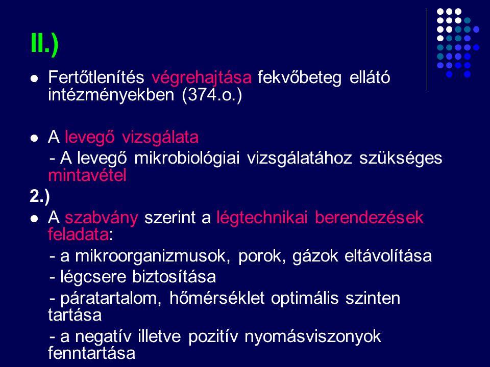 II.)  Fertőtlenítés végrehajtása fekvőbeteg ellátó intézményekben (374.o.)  A levegő vizsgálata - A levegő mikrobiológiai vizsgálatához szükséges mi