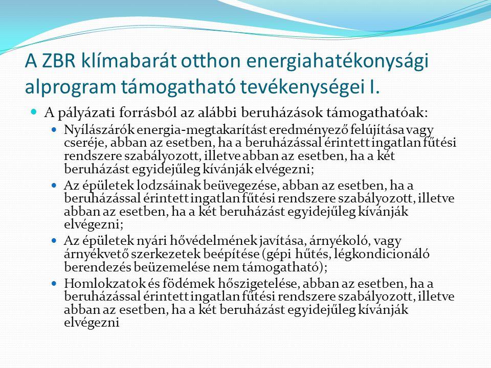 A ZBR klímabarát otthon energiahatékonysági alprogram támogatható tevékenységei I.  A pályázati forrásból az alábbi beruházások támogathatóak:  Nyíl