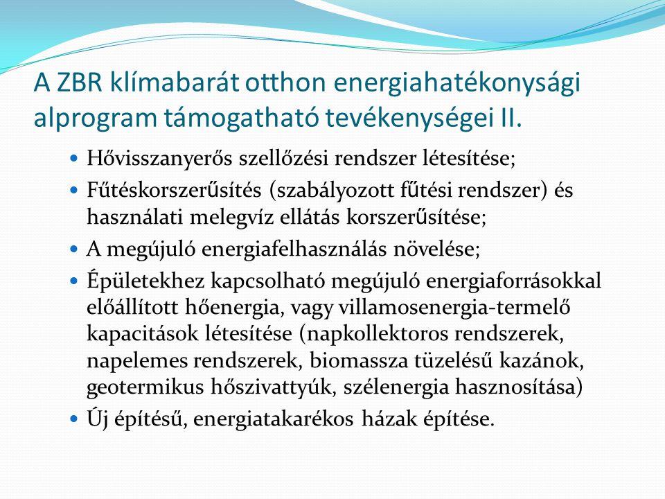 A ZBR klímabarát otthon energiahatékonysági alprogram támogatható tevékenységei II.  Hővisszanyerős szellőzési rendszer létesítése;  Fűtéskorszer ű
