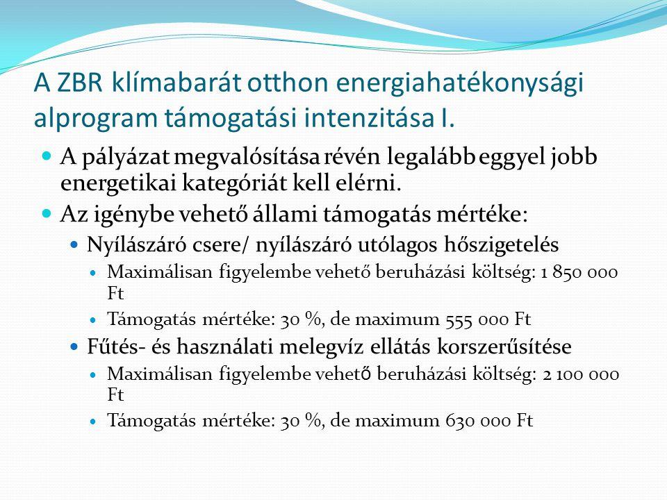 A ZBR klímabarát otthon energiahatékonysági alprogram támogatási intenzitása I.  A pályázat megvalósítása révén legalább eggyel jobb energetikai kate