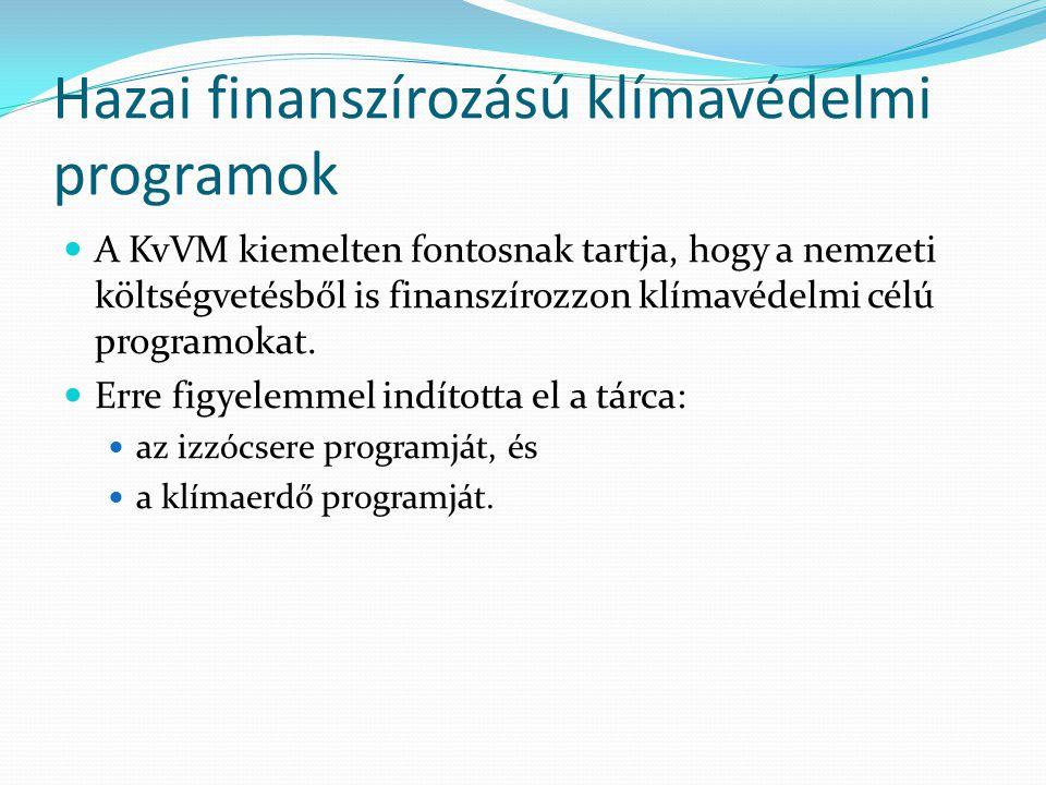 Hazai finanszírozású klímavédelmi programok  A KvVM kiemelten fontosnak tartja, hogy a nemzeti költségvetésből is finanszírozzon klímavédelmi célú pr