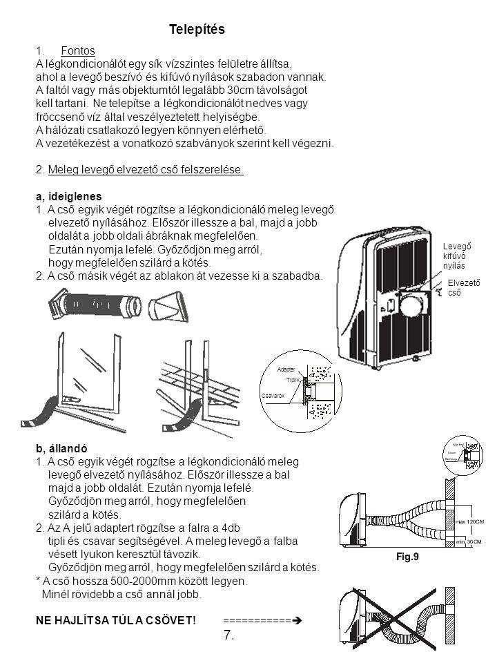 Telepítés 1.Fontos A légkondicionálót egy sík vízszintes felületre állítsa, ahol a levegő beszívó és kifúvó nyílások szabadon vannak.