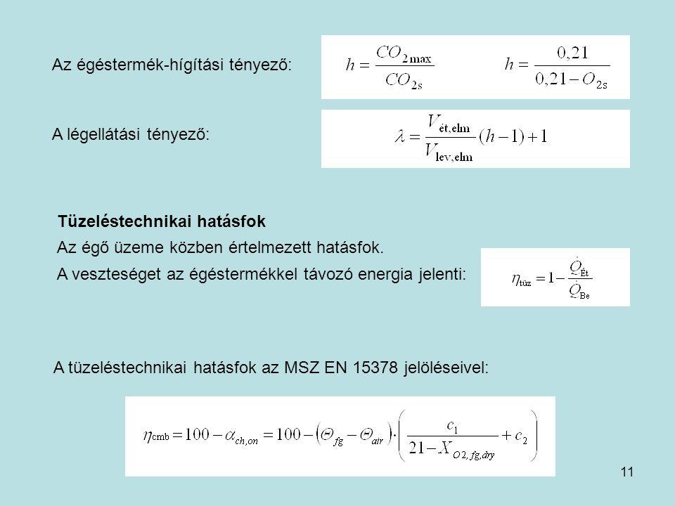 11 Az égéstermék-hígítási tényező: A légellátási tényező: A tüzeléstechnikai hatásfok az MSZ EN 15378 jelöléseivel: Tüzeléstechnikai hatásfok Az égő ü