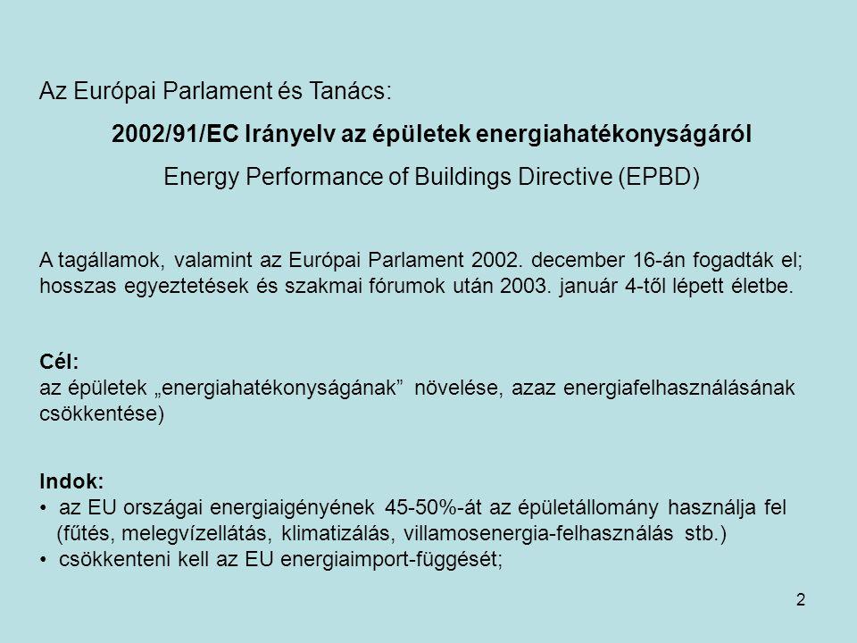 2 Az Európai Parlament és Tanács: 2002/91/EC Irányelv az épületek energiahatékonyságáról Energy Performance of Buildings Directive (EPBD) A tagállamok