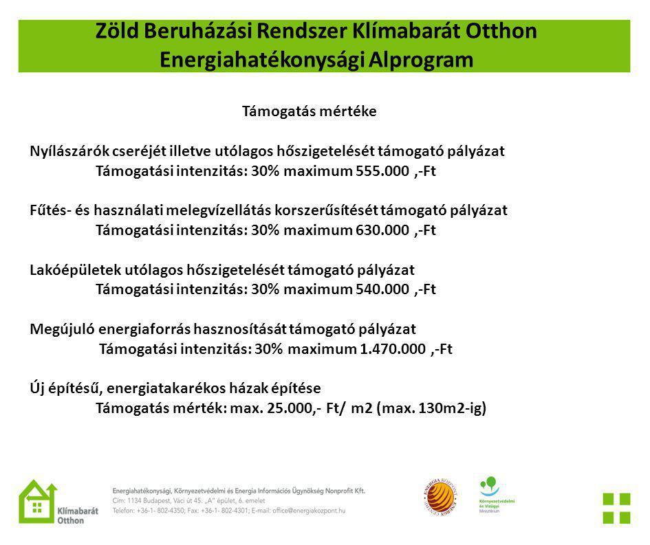 Zöld Beruházási Rendszer Klímabarát Otthon Energiahatékonysági Alprogram Támogatás mértéke Nyílászárók cseréjét illetve utólagos hőszigetelését támogató pályázat Támogatási intenzitás: 30% maximum 555.000,-Ft Fűtés- és használati melegvízellátás korszerűsítését támogató pályázat Támogatási intenzitás: 30% maximum 630.000,-Ft Lakóépületek utólagos hőszigetelését támogató pályázat Támogatási intenzitás: 30% maximum 540.000,-Ft Megújuló energiaforrás hasznosítását támogató pályázat Támogatási intenzitás: 30% maximum 1.470.000,-Ft Új építésű, energiatakarékos házak építése Támogatás mérték: max.