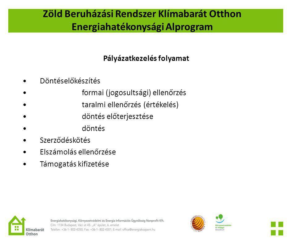 Zöld Beruházási Rendszer Klímabarát Otthon Energiahatékonysági Alprogram Pályázatkezelés folyamat •Döntéselőkészítés •formai (jogosultsági) ellenőrzés •taralmi ellenőrzés (értékelés) •döntés előterjesztése •döntés •Szerződéskötés •Elszámolás ellenőrzése •Támogatás kifizetése