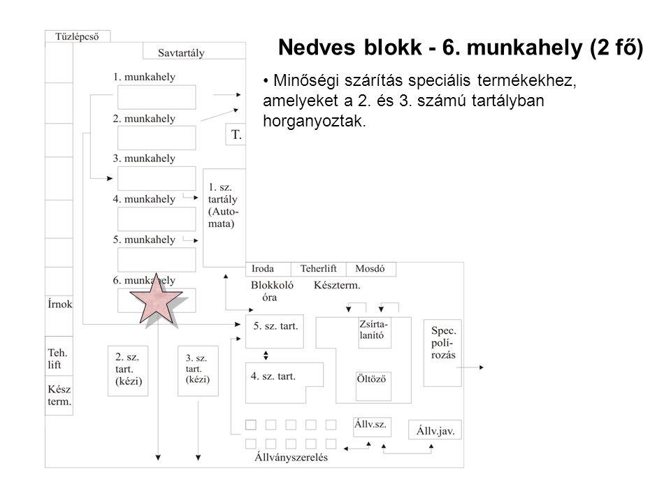 Nedves blokk - 6.munkahely (2 fő) • Minőségi szárítás speciális termékekhez, amelyeket a 2.