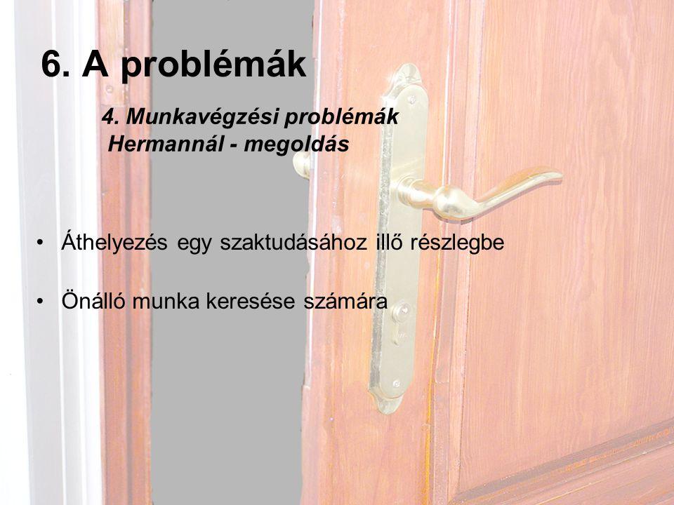 6.A problémák •Áthelyezés egy szaktudásához illő részlegbe •Önálló munka keresése számára 4.