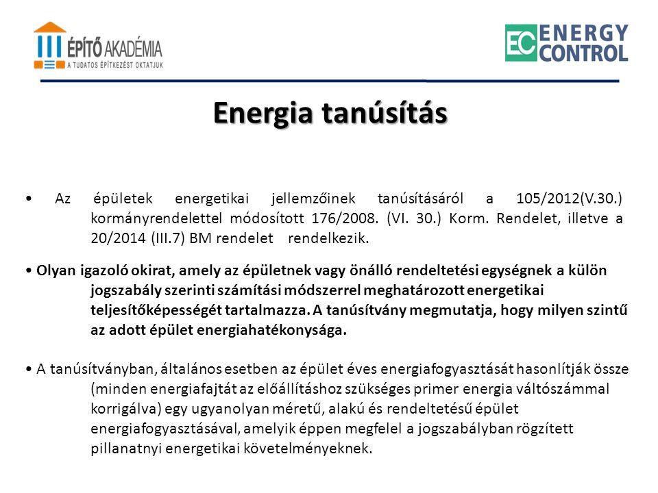 Energia tanúsítás • Olyan igazoló okirat, amely az épületnek vagy önálló rendeltetési egységnek a külön jogszabály szerinti számítási módszerrel megha