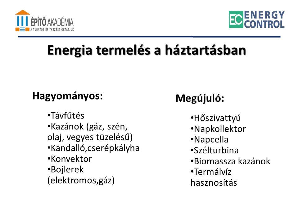 Energia termelés a háztartásban Hagyományos: • Távfűtés • Kazánok (gáz, szén, olaj, vegyes tüzelésű) • Kandalló,cserépkályha • Konvektor • Bojlerek (e