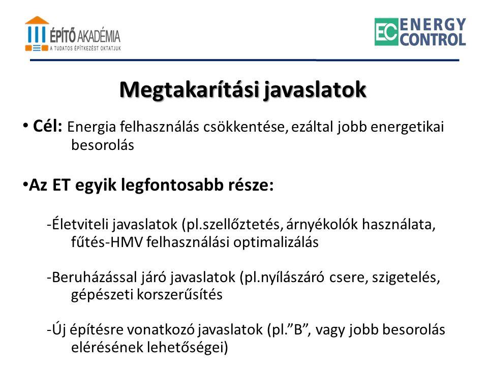 Megtakarítási javaslatok • Cél: Energia felhasználás csökkentése, ezáltal jobb energetikai besorolás • Az ET egyik legfontosabb része: -Életviteli jav