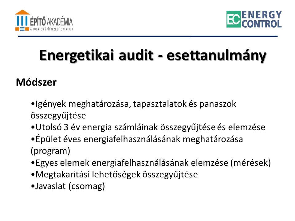 Energetikai audit - esettanulmány Módszer •Igények meghatározása, tapasztalatok és panaszok összegyűjtése •Utolsó 3 év energia számláinak összegyűjtés
