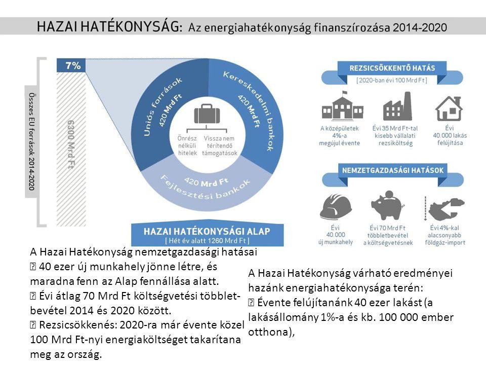 A Hazai Hatékonyság nemzetgazdasági hatásai  40 ezer új munkahely jönne létre, és maradna fenn az Alap fennállása alatt.  Évi átlag 70 Mrd Ft költsé