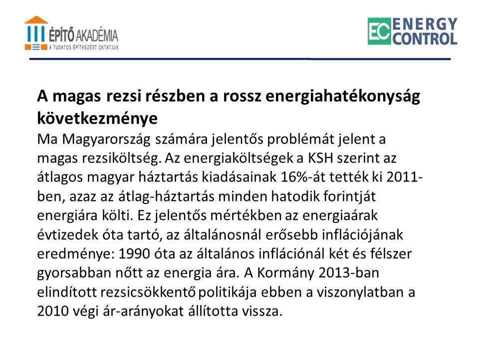 A magas rezsi részben a rossz energiahatékonyság következménye Ma Magyarország számára jelentős problémát jelent a magas rezsiköltség. Az energiakölts