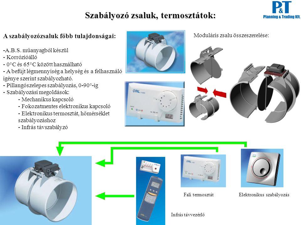 Szabályozó zsaluk, termosztátok: A szabályozózsaluk főbb tulajdonságai: -A.B.S. műanyagból készül - Korrózióálló - 0°C és 65°C között használható - A