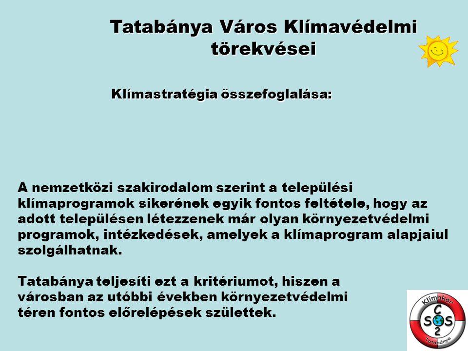 Tatabánya Város Klímavédelmi törekvései Klímastratégia összefoglalása: A nemzetközi szakirodalom szerint a települési klímaprogramok sikerének egyik f
