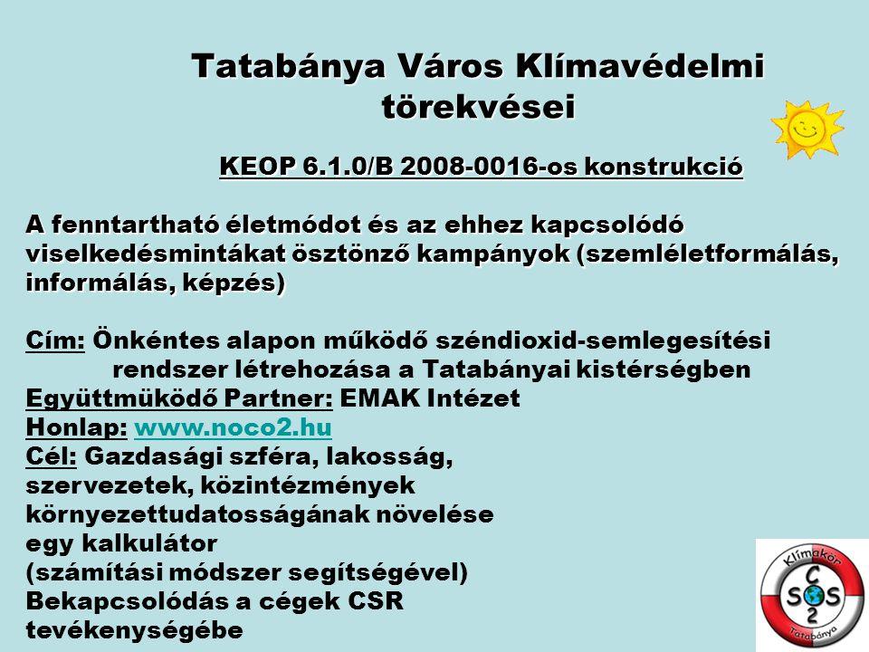 Tatabánya Város Klímavédelmi törekvései KEOP 6.1.0/B 2008-0016-os konstrukció A fenntartható életmódot és az ehhez kapcsolódó viselkedésmintákat ösztö