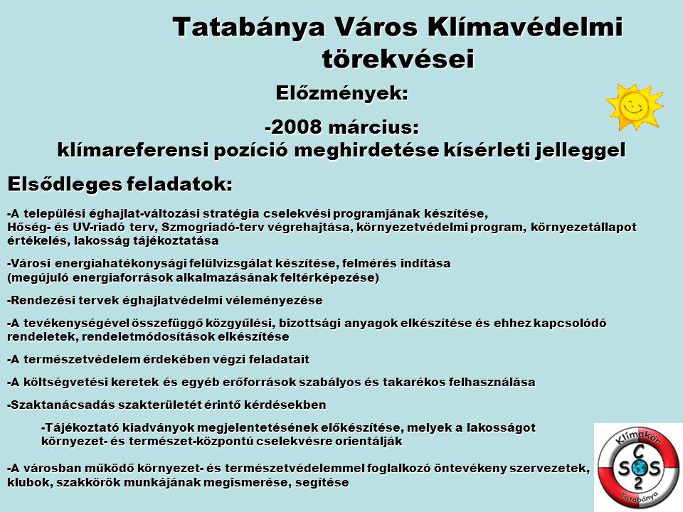Tatabánya Város Klímavédelmi törekvései Későbbi, stratégiai feladatok: -Nyilvántartja a különböző városi pályázatokkal kapcsolatos projekteket, és megkeresi azok (lehetőség szerinti) pályázati kapcsolódásait -Folyamatosan figyelemmel kíséri a pályázati lehetőségeket: Nemzeti Fejlesztési és Gazdasági Minisztérium Önkormányzati Minisztérium Környezetvédelmi és Vízügyi Minisztérium Közlekedési, Hírközlési és Energiaügyi Minisztérium Oktatási és Kulturális Minisztérium -Összegyűjti és elemzi az Operatív Programok Irányító Hatóságai által közzétett pályázati információkat -Részt vesz pályázati projektek előkészítésében és benyújtásában -Az irodák által kezelt és az intézmények által megpályázni kívánt pályázatok nyilvántartása, az esetleges párhuzamok feltárása -Kapcsolattartás a pályázatban résztvevő partnerekkel -A pályázatok pénzügyi teljesítésének figyelemmel kísérése -Részt vesz a 2009-2010-es Környezet és Energia Operatív Program (KEOP) megvalósítandó pályázati projektjeinek előkészítésében, lebonyolításában