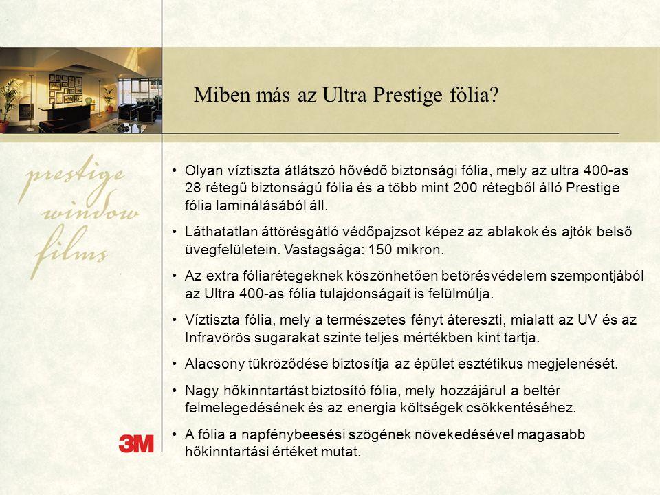 Miben más az Ultra Prestige fólia? •Olyan víztiszta átlátszó hővédő biztonsági fólia, mely az ultra 400-as 28 rétegű biztonságú fólia és a több mint 2