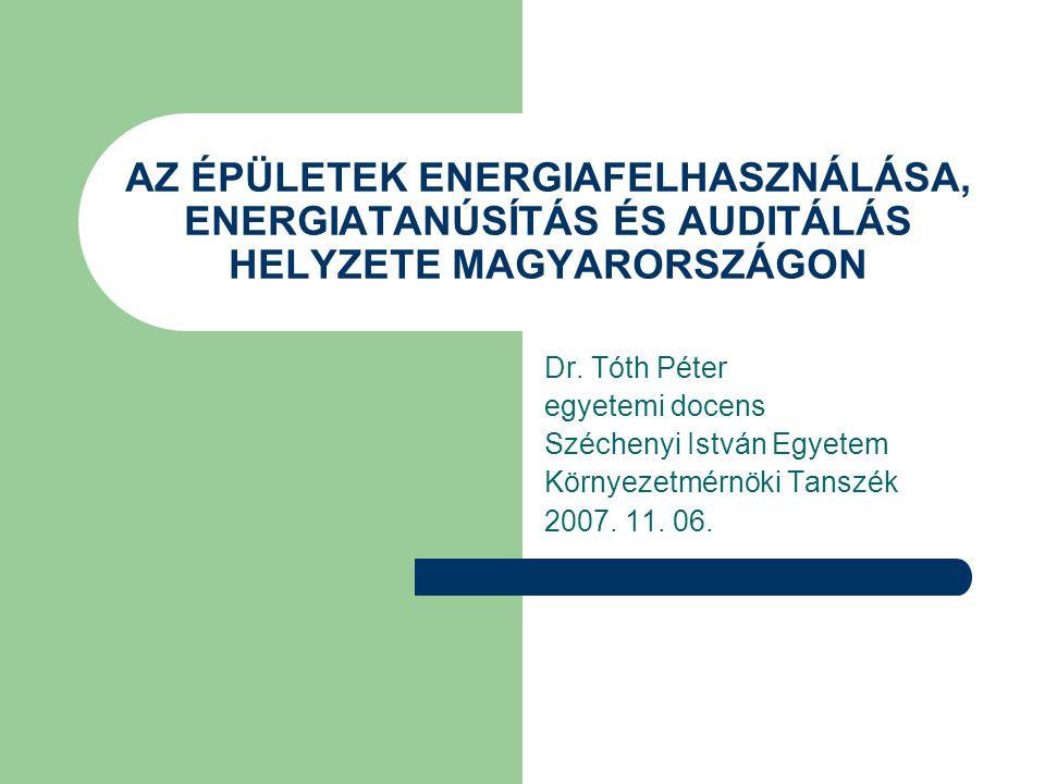 2002/91/EC DIREKTÍVA  Alapvető célkitűzések – Import függőség csökkentése – Széndioxid kibocsátás csökkentése – Épületek energiafelhasználásának csökkentése  A Direktíva fontosabb elemei – Az épületek energiafelhasználásának egységes számítása, mely kiterjed  az épülethatároló szerkezetre  a fűtési és HMV rendszerre  a légtechnikai rendszerre  a mesterséges világításra  a szolárrendszerekre  a természetes szellőzésre  a belső légállapotra  a széndioxid kibocsátásra