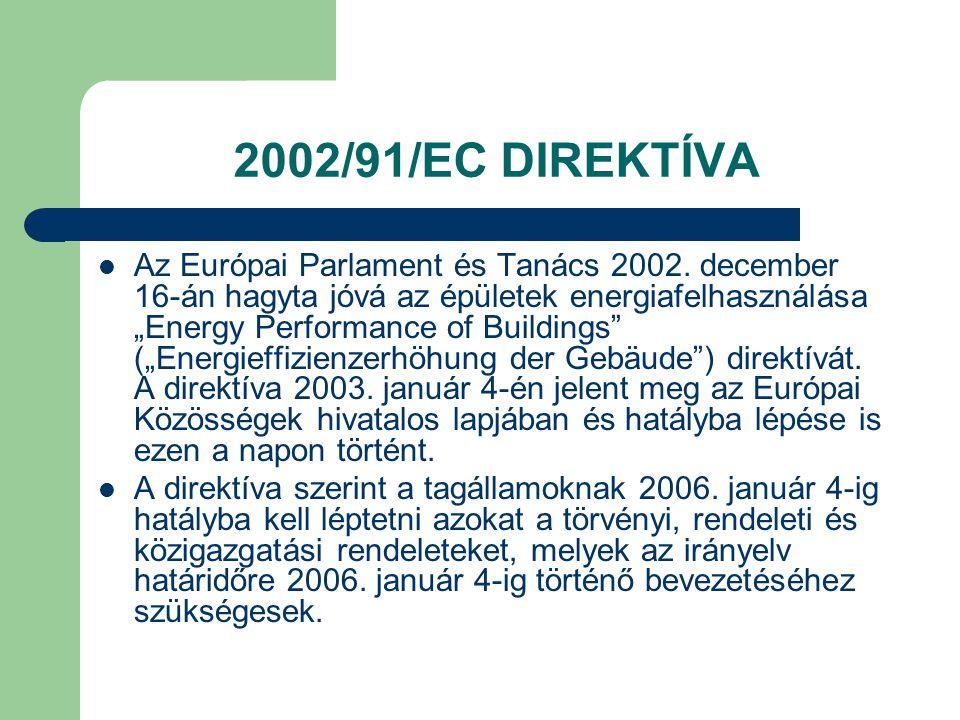 """2002/91/EC DIREKTÍVA  Az Európai Parlament és Tanács 2002. december 16-án hagyta jóvá az épületek energiafelhasználása """"Energy Performance of Buildin"""