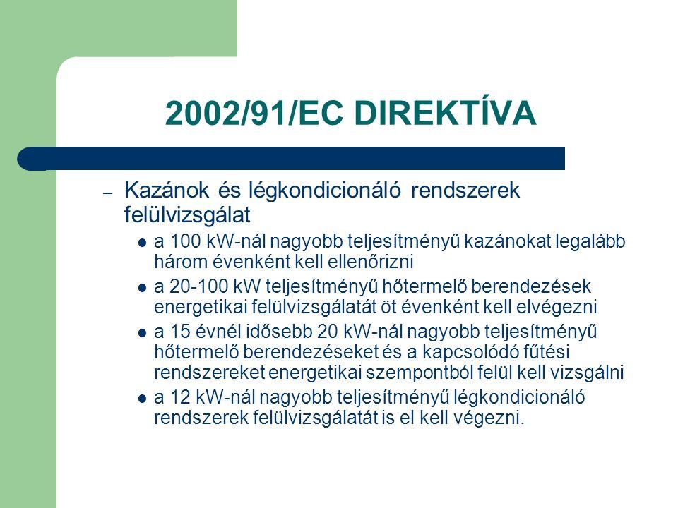 2002/91/EC DIREKTÍVA – Kazánok és légkondicionáló rendszerek felülvizsgálat  a 100 kW-nál nagyobb teljesítményű kazánokat legalább három évenként kel